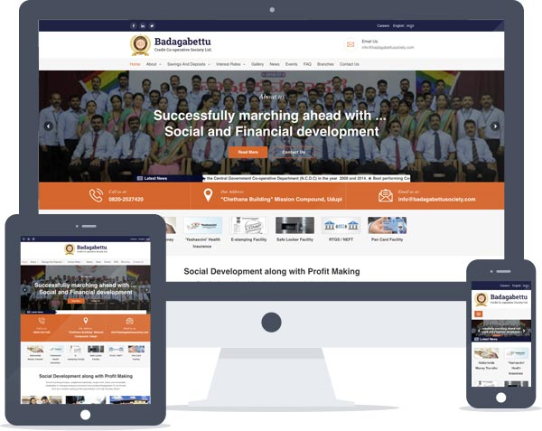 Badagabettu Credit Co-Operative Society - Responsive Website Design, Wordpress Website Development